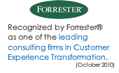 Recognized by Forrester as leading firm in Customer Experience Transformation