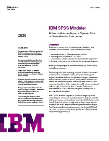 IBM SPSS Modeler 18 - Datasheet- DOWNLOAD - Beyond the Arc